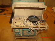 Antique Blebird Childs Cast Iron Stove With Accessery