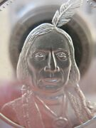 1-oz .rare Red Cloud Sioux American Tribal Indian Nation Silver Coin .925 +gold