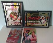 2 Vtg Coca Cola 99 Framed Advertising Sign Mirrors + 4 Vtg Metal Plaques 90 And 06