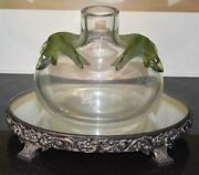 Lovely Marie-claude Lalique Crystal France Saghir Vase W Emerald Green Sea Lions