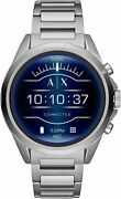 .armani Exchange Menand039s Smartwatch Touchscreen Axt2000 Silver Stainless Sealed.