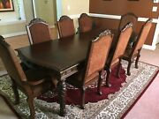 9 Piece Ashley Furniture Family Banquet Table Solid Wood Slightly Used