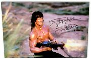 Sylvester Stallone Signed Autographed 20x30 Canvas Photo Rambo W/gun Oa-8423216