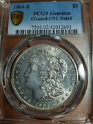 1904-s Ms/unc Cleaned Pcgs Beautiful Rare Date Coin 1 Morgan Silver Dollar