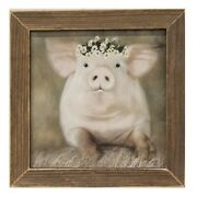 New Farmhouse Rustic Daisy Flower Pink Pig Picture Barnwood Framed Wall Hanging