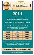 2014 Monthly Lottery Predictions For Pick 4 Win 4 Big 4 Cash 4 Daily 4 Calendar
