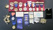 Vintage Hammond Police Lot Of Shooting Awards Medals Ribbons,buttons Belt Buckle