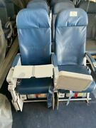 Authentic 747-400 Aircraft Row Of 2 Airline Economy Seats With Screens And Trays