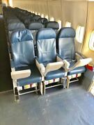 Authentic 747-400 Aircraft Row Of 3 Seats With Screens And Trays