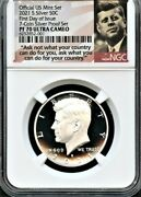 2021 S Silver Kennedy 50c Fdoi From 7-coin Silver Set Ngc Pf70 U.c.--