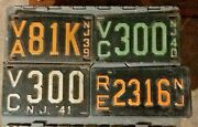 Lot 4 Vintage Nj License Plates 19401939 1941 And Another