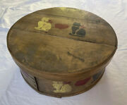 Vintage Large Wood Painted Yellow Pantry Box W/ Cat Design 16andrdquo