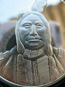1-oz Rare Crow King- Sioux Native Indian Tribal Nations .925 Silver Coin+gold