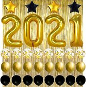 New Years Eve Party Supplies 2021 Decorations Kit, Gold 2021 Black,