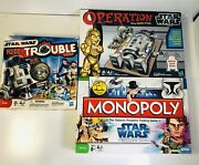 Star Wars Game Lot-clone Wars Monopoly Operation Trouble All Complete