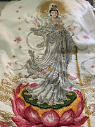 Completed Cross Stitch Indian Princess Hindu Godess Coming Out Of Lotus Flower