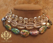 Abalone Paua Necklace Natural Sea Opals Bridal Quartz Jewelry Crystal Faceted