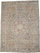 Muted Colors Distressed Floral 8and0395x11and0395 Vintage Antique Oriental Rug Home Carpet