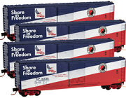 Micro-trains Mtl N-scale 50ft Box Cars Northern Pacific/np Freedom - Runner 4-pk