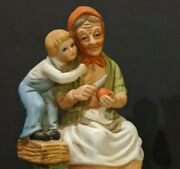 Homco Home Interiors Vintage 70's 80's Old Man Woman Child Apples Figurines Set