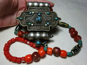 An Antique 19th C Tibet Buddhist Silver Gau Box Agate Turquoise Beads Necklace