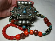 An Antique 19th C Tibet Buddhist Silver Ghau Box Agate Turquoise Beads Necklace