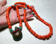 Vintage Coper Coin Snuff Bottle Glass Faux Coral Beads Necklace Turquoise