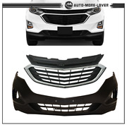 Front Bumper Cover And Front Upper And Lower Grille For Chevy Equinox 2018 19 2020