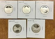 2011-s Proof Silver A.t.b. Quarters Set All 5 Coins In 2x2s