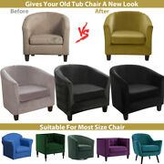 2 Piece Tub Chair Covers Velvet Stretch Armchair Sofa Seat Cover Slipcover Uk
