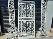 Antique 1905 Victorian Lace Wrought Iron Single Door Be W/glass And Side Panels