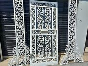 Antique 1905 Victorian Lace Wrought Iron Single Door Be W/side Panels