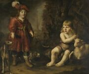 Oil Painting A Boy Dressed As A Hunter, The Other As John The Baptist N14595