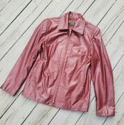Vtg Playboy Leather Jacket Red Leather Zip Up Womens Size L