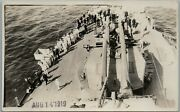 1919 Wwi Us Navy Sailors On Deck Of Ship Rppc Real Photo Postcard