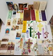 Vtg Religious Bookmarks And Christian Death Holy Prayer Cards Estate Lot 50+ Cross
