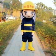 Fireman Mascot Costume Suit Cosplay Party Game Dress Outfit Halloween Adult B