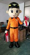 Fireman Mascot Costume Suit Cosplay Party Game Dress Outfit Halloween Adult E