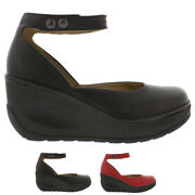 Womens Fly London Jody Mousse Leather Closed Toe Ankle Strap Wedge Shoes Uk 3-9