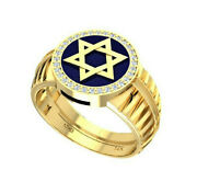 Solid 14k Gold Star Of David Ring 32 Natural Diamonds 0.23 Tcw Made In Israel