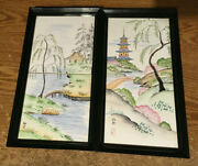 2x Japanese Hand Painted Signed Framed Porcelain Tiles 13x7 / Wrongway052