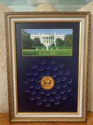 United States Of America Presidential Dollars Collectible 40 Coin Frame Display