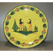 New Wall Plate Soleil Yellow With Couple , Henriot Quimper New
