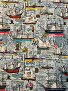 Vintage 1970and039s House N Home Fabrics And Draperies 4 Curtain Pieces Nautical Ships