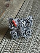 Rose Singer Coral And Sterling Silver Adjustable Butterfly Ring Size 8 Signed