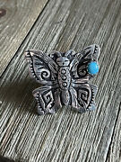Rose Singer Turquoise And Sterling Silver Adjustable Butterfly Ring Size 7 Signed