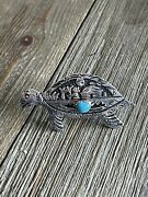 Rose Singer Turquoise And Sterling Silver Adjustable Turtle Ring Size 7 Signed