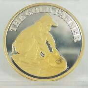 The Gold Panner | .999 Silver 1 Oz Coin With Gold Nugget | Klondike Gold Rush