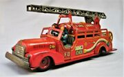 Vintage 1950's Large Tin Toy Fire Truck  - Made In Japan By Ko - Yoshiya