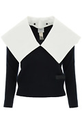 New Patou Sweater With Maxi Collar Kn0468032 Navy Authentic Nwt